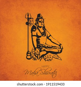 Greeting card illustration for maha Shivratri, a Hindu festival celebrating Lord Shiva with grunge background, shiva statue