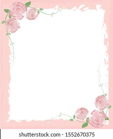 Greeting card include of frame and flowers with pastel colors.