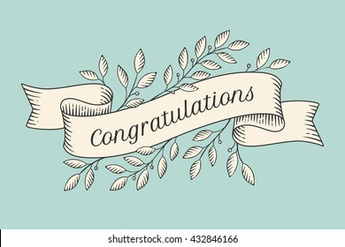 Congratulations banner images stock photos vectors shutterstock greeting card with inscription congratulations old vintage ribbon banners with leaves and drawing in engraving m4hsunfo