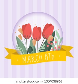 Greeting card to International Women's Day 8th March. Floral background design. Can be used as invitation