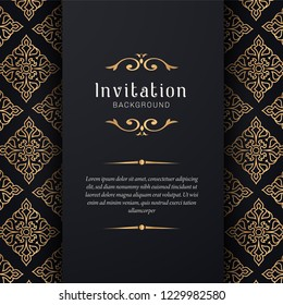 Greeting card invitation gold ornamental pattern background illustration,