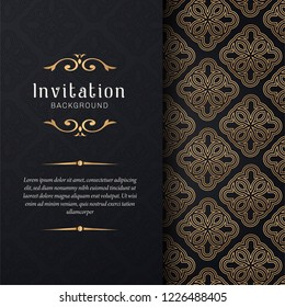 Greeting card invitation with lace and floral ornaments,  Gold ornamental pattern background illustration