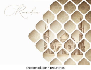Greeting card, invitation for muslim holiday Ramadan Kareem. Hand drawn mosque. View through white cut paper oriental arab pattern. Vector illustration.