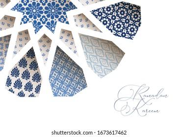 Greeting card, invitation for Muslim holiday Ramadan Kareem. Close-up of blue ornamental Morroccan tiles through white arab star shape pattern. Vector illustration bacground, web banner, modern design