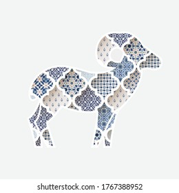 Greeting card, invitation with silhouette of ornamental sheep. Blue Moroccan, arab pattern tiles fill.  Eid al Adha holiday, muslim community festival of sacrifice. Vector illustration background.