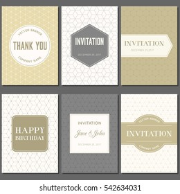 greeting card and invitation template in golden theme and elegant style with hexagonal pattern, flat design vector