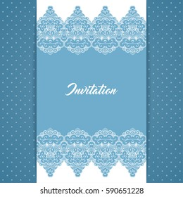 Greeting card or invitation template in retro style with lace border and polka dot background. Vector Illustration.