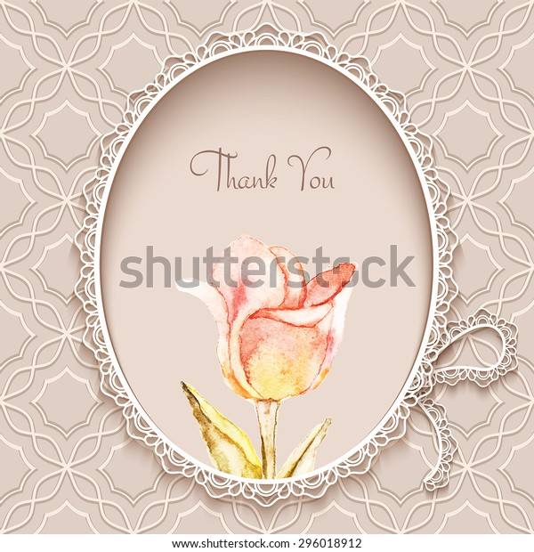 Greeting card or invitation template in retro style with hand painted watercolor tulip flower, vector illustration