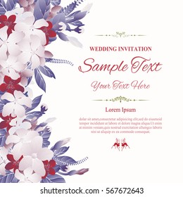 Greeting card, invitation or wedding card with abstract floral background,vector Illustration.
