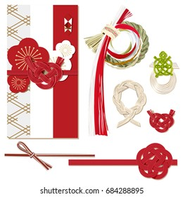 Greeting card in Japanese style.Celebrations, Wedding ceremony, Decoration Element, Envelop decor, New year ornament.