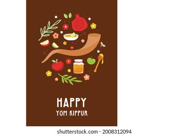 Greeting card for Jewish holiday Yom Kippur and jewish New Year, rosh hashanah, with traditional icons. design with traditional Jewish New Year symbols, apple, honey, shofar and flowers. Vector
