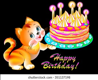 Greeting Card With Joyful Kitten Holding A Cake Vector Cartoon Image