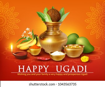 Greeting card with Kalash and traditional food pachadi with all flavors for Indian New Year festival Ugadi, Gudi Padwa. Vector illustration.