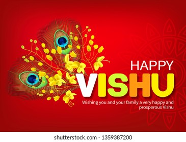 Greeting card with konna flowers (cassia fistula) and peacock feathers for South Indian New Year festival Vishu (Vishukani). Vector illustration.
