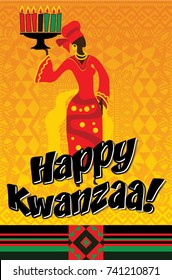 Greeting card for Kwanzaa with African women. Vector illustration. Happy Kwanzaa decorative greeting card. seven kwanzaa candles in vector.