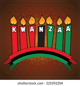Greeting card for Kwanzaa with seven kwanzaa candles in vector . Vector illustration. Happy Kwanzaa decorative greeting card.