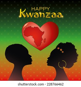 Greeting card for Kwanzaa with silhouette of couple of Africans and heart with the mark of contours of Africa. Vector illustration.