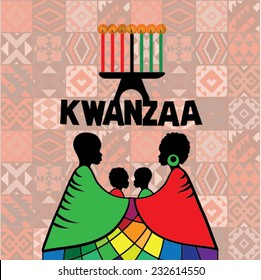 Greeting card for Kwanzaa with silhouette of couple of Africans. Vector illustration. Happy Kwanzaa decorative greeting card. seven kwanzaa candles in vector