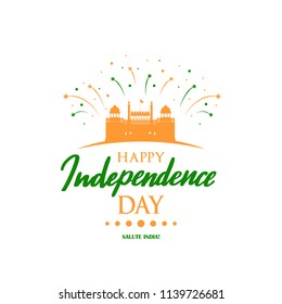 Greeting card with Lal Qila illustration for celebrating Independence Day of India.15th August. Vector illustration.