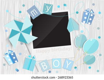 Greeting card for little boy. Pinwheel, car, gift box, photo frame, balloons on wooden background. Vector EPS10.