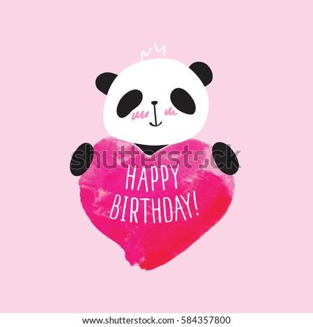 Greeting Card Little Cute Panda Pink Stock Vector Royalty Free