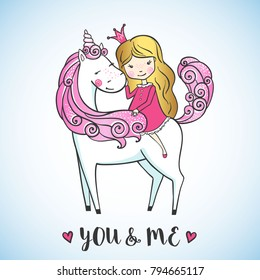 Greeting card with Little princess girl on magic unicorn. Love concept. Vector illustration.