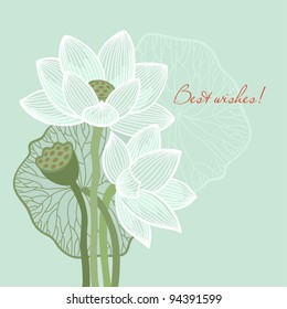 Greeting card with lotus