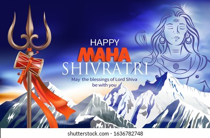 Greeting card for Maha Shivratri, a Hindu festival celebrated of Lord Shiva. Vector illustration.