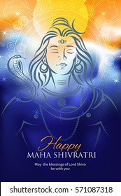 Greeting card for Maha Shivratri, a Hindu festival celebrated of Lord Shiva. Background with Lord Shiva face. Vector illustration.