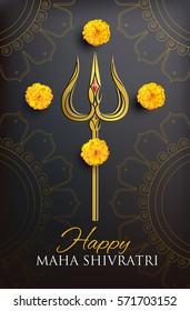 Greeting card for Maha Shivratri, a Hindu festival celebrated of Shiva Lord. Golden trishula of Shiva on black background. Vector illustration.