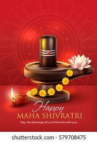 Greeting card for Maha Shivratri, a Hindu festival. Vector illustration.