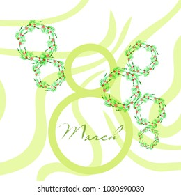 Greeting card for March 8. International Women's Day. Flowers, abstraction, vector illustration.