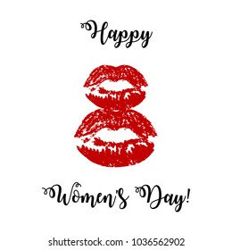 Greeting card for March 8. International Women's Day. Silhouette of red female lips, imprint of lipstick, kiss, abstraction, vector ilustration.