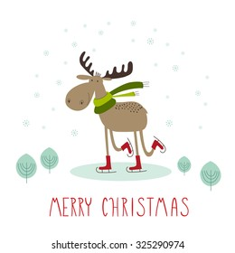 Greeting card: Merry Christmas. Creative hand drawn card with cute skating moose. Vector cartoon illustration.