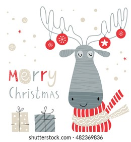 Greeting card: Merry Christmas and Happy New Year. Creative hand drawn card with cute moose. Vector cartoon illustration.