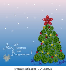 "Greeting card ""Merry Christmas and Happy new year!"" the squared vector image in color in Paper Quiling style"