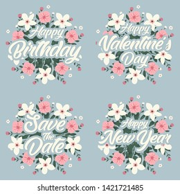 Greeting card message template for happy birthday, valentine's day, wedding and happy new year with flower wreath.