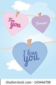 Greeting card with messages in hearts