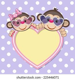 Greeting card with monkeys and heart