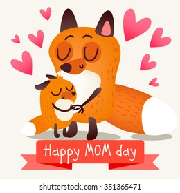 Greeting Card Mother's Day with foxes. Warm hugs and love. Illustration in cartoon style. Cute animals.