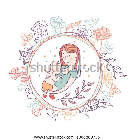 Greeting Card Mothers Day Pretty Mother Stock Vector Royalty Free