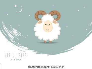 Greeting card for Muslim Community Festival of Sacrifice Eid-Ul-Adha. Vector illustration