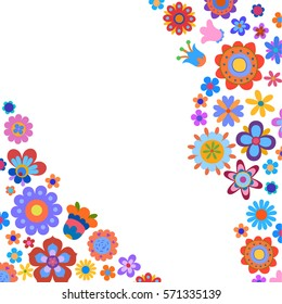 Greeting card with naive style colorful flowers. Or set of decorative elements for any kind of design