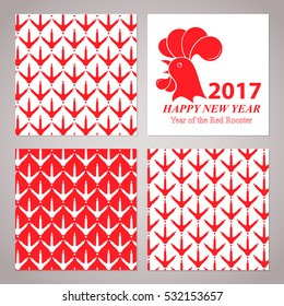 Greeting card for the New Year 2017. Red rooster on white background. Set of seamless patterns with chicken footprints