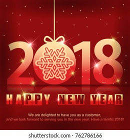 Greeting card with a New Year 2018. Beautiful numbers with snowflake inside of ball.