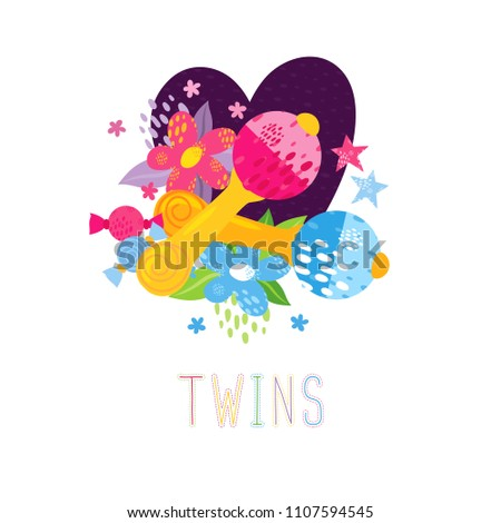Greeting Card Newborn Twins Birthday Two Stock Vector Royalty Free