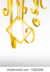 greeting card. card note with rolled up golden swirly ribbon on white background. Blank frame gift tag. eps10 vector