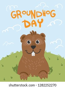 Greeting card on groundhog day. An animal. A ferret. A cheerful look out of a mink. Cartoon style. Spring sky grass. From the fossa on the first day of spring plus handwritten text cute gopher