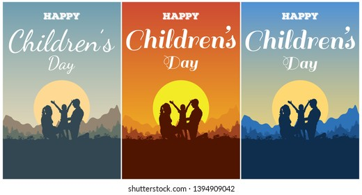 Greeting card on the Universal Children's Day. Silhouette of the family - father, mother and boy on the background of nature, mountain and forest landscape with a lettering Happy Children's Day.