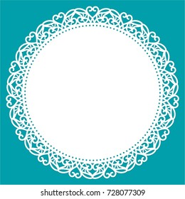 Greeting card with openwork border, paper doily under the cake, round template for cutting, valentine card, wedding invitation. Laser cut decorative plate. Vector illustrations.